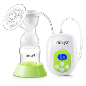 Matyz Electric Breast Pump with LCD Screen - 3 Sizes Silicone Massage Breast Shields for Comfortable & Efficient Pumping - Portable Rechargeable Single Mobile Pump - Adjustable Suction Levels Pump