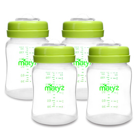 Matyz 4 PCS Wide Neck Breast Milk Collection and Storage Bottles (6oz Each, Green) - Can Be Used as a Baby Bottle with the Bonus Nipples - Leak Proof Design - Use One Bottle to Pump, Store & Feed