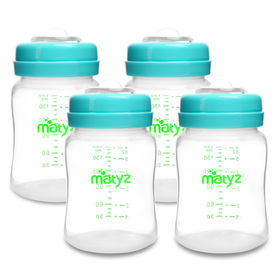 Matyz 4-PACK Wide Mouth Breast Milk Storage Containers With Lids (Blue, 6oz Each) - Freezer Safe Breastmilk Storage Bottles - Breast Pump Accessories For Medela Spectra Avent Breast Pumps