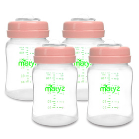 Matyz 4 PCS Wide Neck Breast Milk Collection and Storage Bottles (6oz Each, Pink) - Can Be Used as a Baby Bottle with the Bonus Nipples - Leak Proof Design - Use One Bottle to Pump, Store & Feed