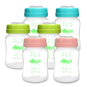 Matyz 6-PACK Breast Milk Storage Bottles (6oz, 3 Colors) - Wide Neck Breastmilk Collection and Storage Bottle - Formula Storage Bottles Compatible With Medela Avent Spectra Pumps