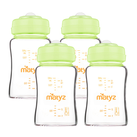 Matyz 4 PCS Glass Breast Milk Collection and Storage Bottles (6oz Each, Green) - Can Be Used as Glass Baby Bottle with the Bonus Nipples - Leak Proof Design - Use One Bottle to Pump, Store & Feed