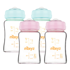 Matyz 4 PCS Glass Breast Milk Collection and Storage Bottle (6oz Each, Pink & Blue) - Can Be Used as Glass Baby Bottle with the Bonus Nipples - Leak Proof Design - Use One Bottle to Pump, Store & Feed