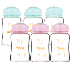 Matyz 6 PCS Glass Breast Milk Collection and Storage Bottles (6oz Each, Pink & Blue) - Can Be Used as Glass Baby Bottle with Bonus Nipples - Leak Proof Design - Use One Bottle to Pump, Store & Feed