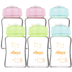 Matyz 6 PCS Glass Breast Milk Collection and Storage Bottles (6oz Each, 3 Colors) - Can Be Used as Glass Baby Bottle with the Bonus Nipples - Leak Proof Design - Use One Bottle to Pump, Store & Feed