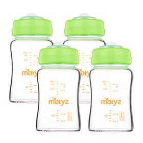 Matyz 4-PACK Glass Breastmilk Storage Bottles With Lids (Green, 6oz Each) - Wide Mouth Breastmilk Collection Storage Bottle - Leakproof Glass Breast Pump Bottle for Spectra Medela Philips Breast Pumps