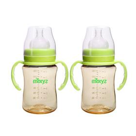 Matyz 2 PCS Breastmilk Feeding Baby Bottles with Handle - Wide Neck Anti Colic Newborn Infant Bottles (6oz Each, Green) - Easy Latch Nipples - Medical Grade Material & BPA Free