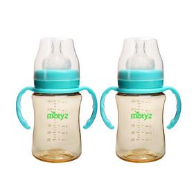 Matyz 2 PCS Breastmilk Feeding Baby Bottles with Handle - Wide Neck Anti Colic Newborn Infant Bottles (6oz Each, Blue) - Easy Latch Nipples - Medical Grade Material & BPA Free