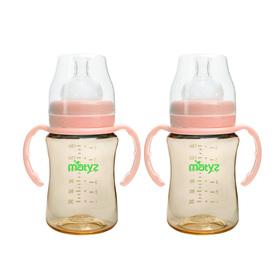 Matyz 2 PCS Breastmilk Feeding Baby Bottles with Handle - Wide Neck Anti Colic Newborn Infant Bottles (6oz Each, Pink) - Easy Latch Nipples - Medical Grade Material & BPA Free