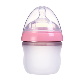 Matyz Breastmilk Feeding Baby Bottles - Anti Colic Newborn Infant Bottles (1 PC, 5oz, Pink) - Ultra Wide Neck Bottle Easy to Clean - Easy Latch Nipples - BPA Free