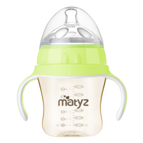 Matyz Breastmilk Feeding Baby Bottles with Handle - Anti Colic Newborn Infant Bottles (1 PC, 6oz, Green)  - Ultra Wide Neck Bottle Easy to Clean - Easy Latch Nipples - BPA Free