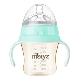 Matyz Breastmilk Feeding Baby Bottles with Handle - Anti Colic Newborn Infant Bottles (1 PC, 6oz, Blue)  - Ultra Wide Neck Bottle Easy to Clean - Easy Latch Nipples - BPA Free