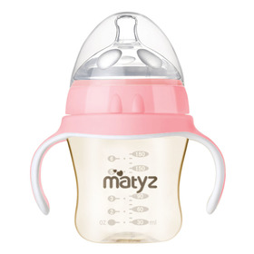 Matyz Breastmilk Feeding Baby Bottles with Handle - Anti Colic Newborn Infant Bottles (1 PC, 6oz, Pink)  - Ultra Wide Neck Bottle Easy to Clean - Easy Latch Nipples - BPA Free