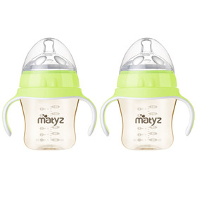 Matyz 2 PCS Breastmilk Feeding Baby Bottles with Handle - Anti Colic Newborn Infant Bottles (6oz Each, Green)  - Ultra Wide Neck Bottle Easy to Clean - Easy Latch Nipples - BPA Free