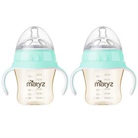 Matyz 2 PCS Breastmilk Feeding Baby Bottles with Handle - Anti Colic Newborn Infant Bottles (6oz Each, Blue)  - Ultra Wide Neck Bottle Easy to Clean - Easy Latch Nipples - BPA Free