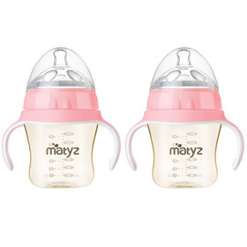 Matyz 2 PCS Breastmilk Feeding Baby Bottles with Handle - Anti Colic Newborn Infant Bottles (6oz Each, Pink)  - Ultra Wide Neck Bottle Easy to Clean - Easy Latch Nipples - BPA Free