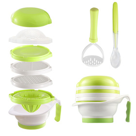 Matyz All in 1 Baby Food Maker Set - Toddler Mash Bowl with Hand Masher, Citrus Juicer, Grater - Making Homemade Baby Food - Fruits and Vegetables Masher - BPA Free - Baby Shower Gift (Matyz Green)