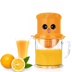Matyz Manual Juicer - Dual-Purpose Fruits Squeezer and Orange Citrus Juicer - Rotation Press Reamer and Bonus Strainer and Large Capacity Container for Lemon Lime Grapefruit - Easy to Clean (Orange)