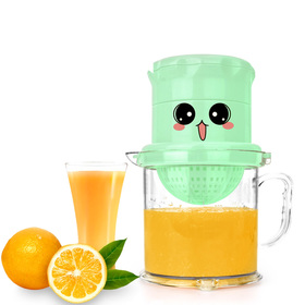Matyz Manual Juicer - Dual-Purpose Fruits Squeezer and Orange Citrus Juicer - Rotation Press Reamer - Bonus Strainer - Large Capacity Container for Lemon Lime Grapefruit - Easy to Clean (Mint Green)