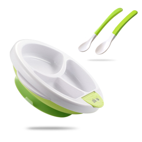 Matyz Stay Put Suction Warm Plate for Baby Feeding - Divided Plate for Kids - Divided Toddler Plate with Bonus Spoon - Microwave & Dishwasher Safe - BPA Free (Green)