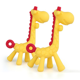 Matyz 2 PCS Giraffe Baby Teether Toys - Toddler Teething Toys Includes Hygienic Case - Massage Sore Gums - Bright and Cheerful Colors & Easy to Grip - Food-Grade Silicone BPA Free (Yellow)