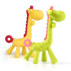Matyz 2 PCS Giraffe Baby Teether Toys - Toddler Teething Toys Includes Hygienic Case - Massage Sore Gums - Bright Cheerful Colors & Easy to Grip - Food-Grade Silicone BPA Free (Yellow & Matyz Green)